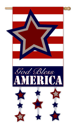 God Bless America Patriotic Applique House Flag - 2 Sided Message