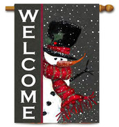 Snowman Welcome Toland Winter House Flag