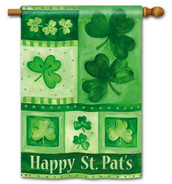 Shamrock Collage St. Patrick's Day House Flag - 2 Sided Message