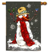 Red Scarf Snowman Toland Winter House Flag