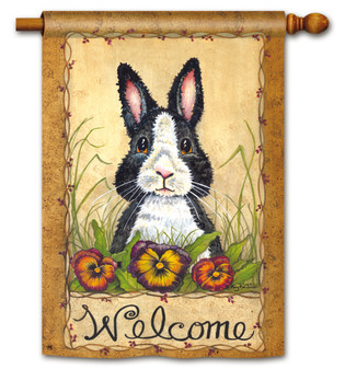 Breeze Art Welcome Rabbit With Pansies House Flag