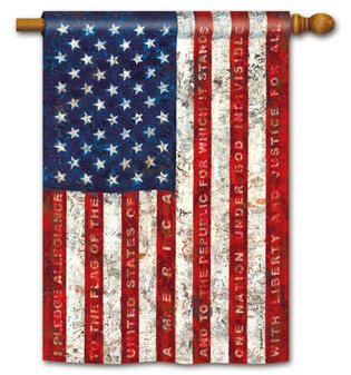 Pledge Of Allegiance Patriotic House Flag