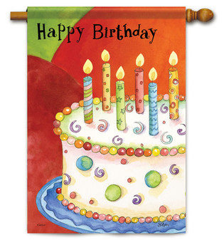Birthday Cake House Flag - 2 Sided Message