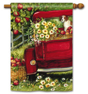 Red Truck House Flag by BreezeArt