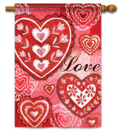 Love Valentine House Flag - 2 Sided Message
