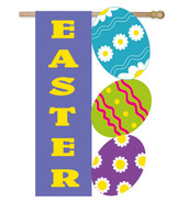 Easter Eggs House Flag: Deluxe Applique - 2 Sided Message