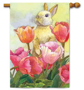 Toland Bunny Tulips House Flag