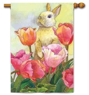 Toland Bunny Tulips House Flag