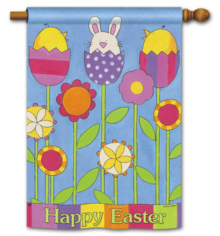 Happy Easter House Flag by BreezeArt