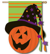 "Jack-O-Lantern Applique Halloween House Flag - 28"" x 44"""