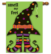 Trick or Treat Feet Halloween Applique House Flag - 2 Sided Message