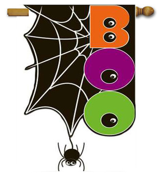 Double Sided Applique Halloween Flag Reads Correctly from Both Sides