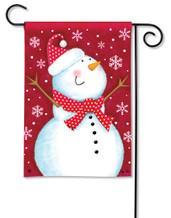 Red Snowman Garden Flag