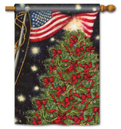 Patriotic Christmas Standard Flag