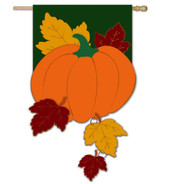 Fall Pumpkin with Falling Leaves Applique House Flag