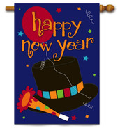 Happy New Year Applique House Flag