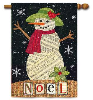 Musical Snowman House Flag