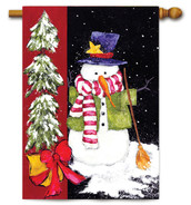 Sweeping Snowman House Flag by Toland Flags