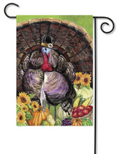 Turkey Pilgrim Thanksgiving Garden Flag
