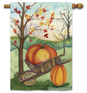 Pumpkin in Wheelbarrow House Flag