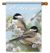 Flag Trends decorative spring chickadees house flag