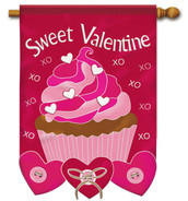 "Sweet Valentine Applique House Flag  28"" x 40"" - 2 Sided Message"