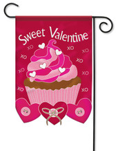 "Sweet Valentine Double Applique Garden Flag 13"" x 18"" - 2 Sided Message"