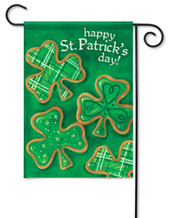 "Shamrock Cookies Garden Flag 13"" x 18"" - 2 Sided Message"