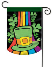 Applique St. Pat's Hat Clover Garden Flag