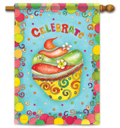 "Celebrate Cupcake House Flag - 28"" x 40"" - 2 Sided Message"