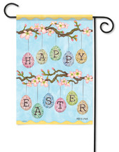 "Easter Eggs Glitter Garden Flag 13"" x 18"" - 2 Sided Message"