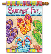 "Summer Fun House Flag - 28"" x 40"" - 2 Sided Message"