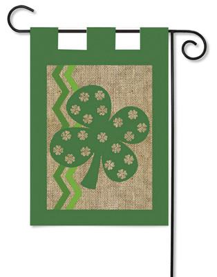 Shamrock Burlap Garden Flag by Evergreen