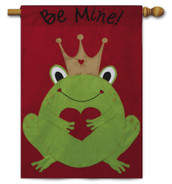 "Be Mine Applique Valentine House Flag - Size 28"" x 44"" - 2 Sided Message"