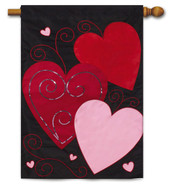 "Sequins Hearts Valentine's Day Applique House Flag - 29"" x 43"""
