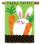 Applique Easter Bunny With Carrots and Border Evergreen House Flag