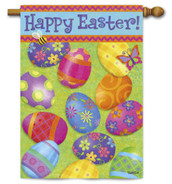 Happy Easter House Flag With Colorful Easter Eggs by Evergreen