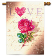 "Love Rose Valentine House Flag - 29"" x 43"" - 2 Sided Message"