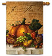 "Give Thanks Table House Flag - Size 29"" x 43"" - 2 Sided Message"