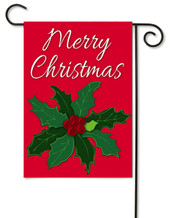 "Merry Christmas Holly Applique Garden Flag - 12.5"" x 18"" - 2 Sided Message"