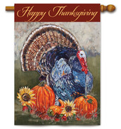 "Thanksgiving Turkey House Flag - 28"" x 40"" - 2 Sided Message"