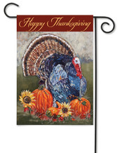 "Thanksgiving Turkey Garden Flag 12"" x 18"" - 2 Sided Message"