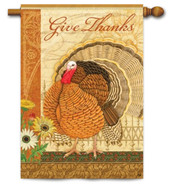 "Elegant Turkey House Flag 28"" x 40"" - 2 Sided Message"