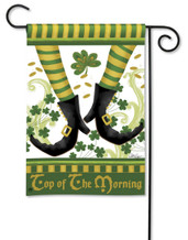 Leprechaun Top of The Morning Breeze Art Garden Flag