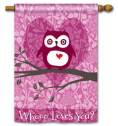 "Who Loves You Valentine House Flag - 28"" x 40"" - 2 Sided Message"