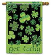 Breeze Art St. Patrick's Day Shamrock Get Lucky House Flag