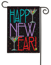 "New Year Martini Garden Flag - 13"" x 18"" - 2 Sided Message"