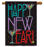 "New Year Martini House Flag - 28"" x 40"" - 2 Sided Message"