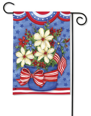 Daisies And Flags Patriotic Garden Flag by BreezeArt