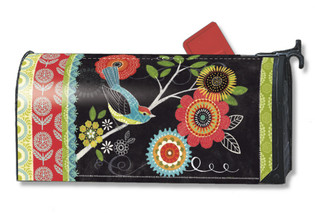Whimsical birds Mailwraps magnetic mailbox cover